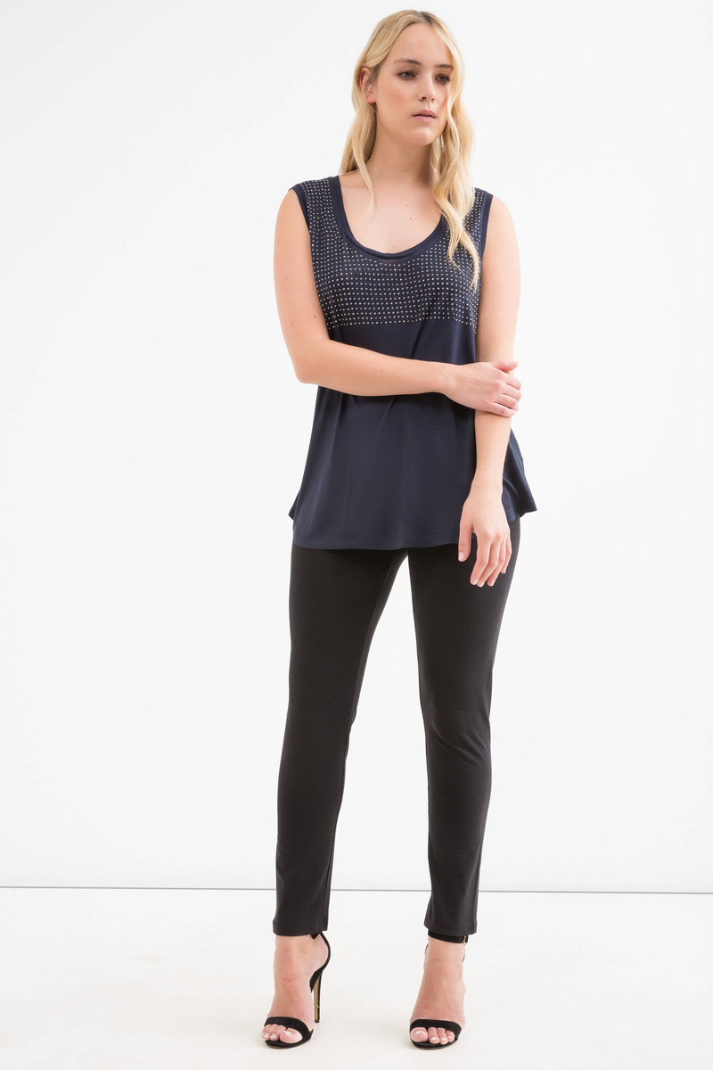 Curvy sleeveless T-shirt with studs image number null