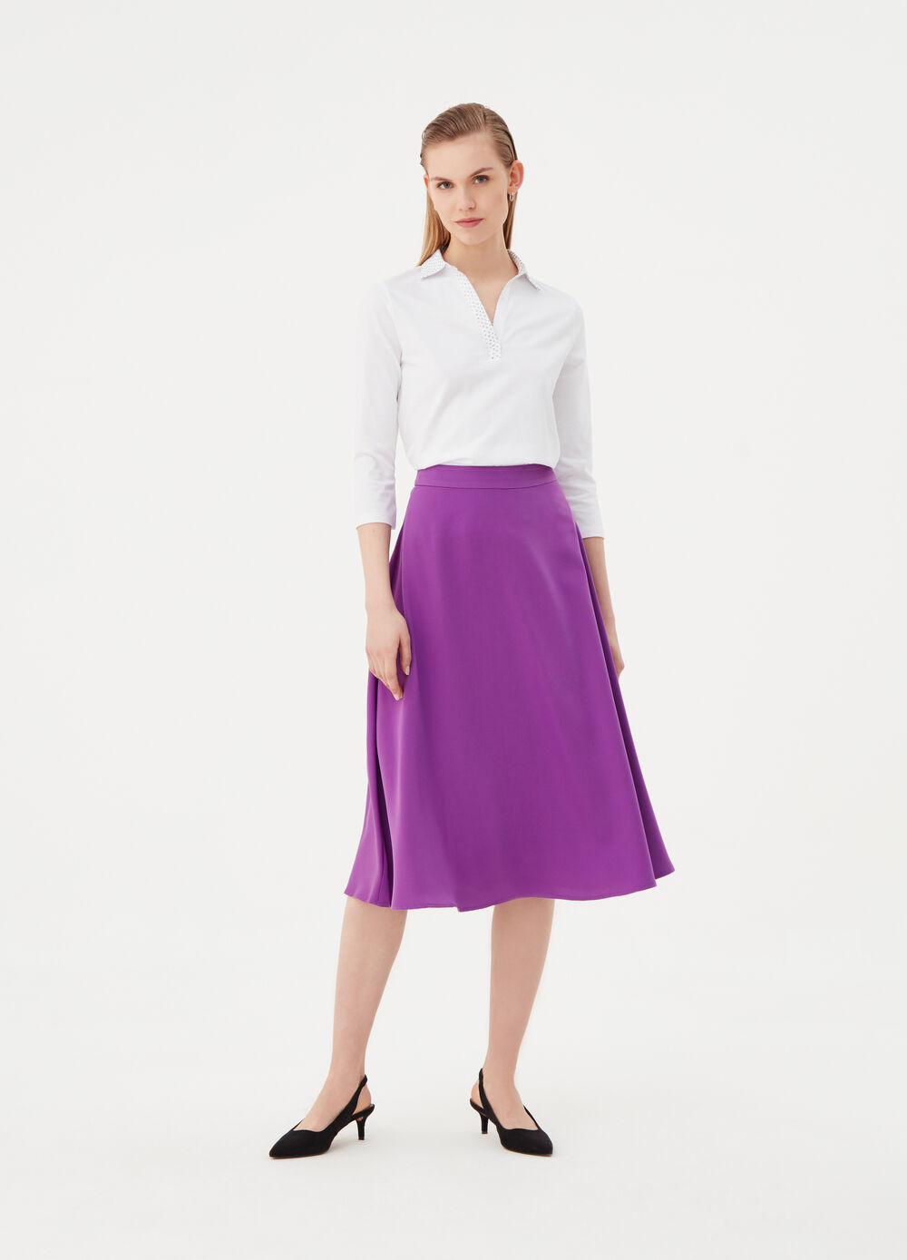 Satin full midi skirt with zip