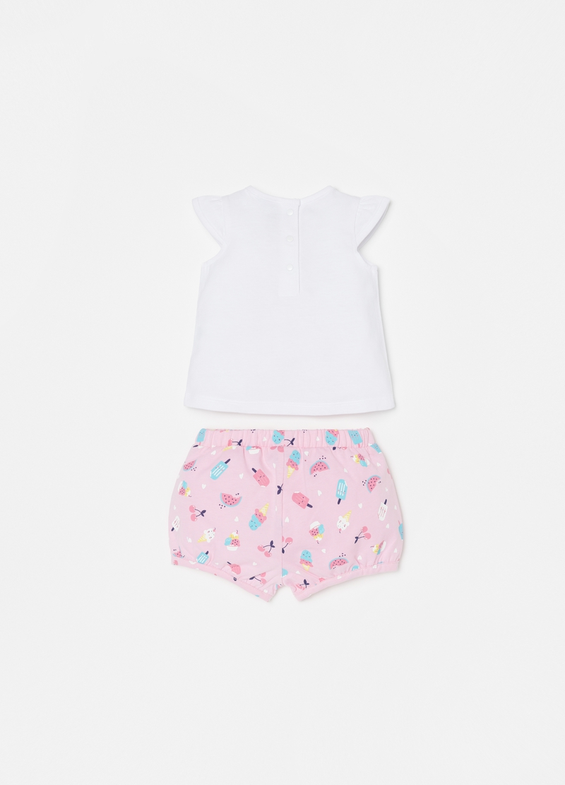 T-shirt and shorts set with print and pattern image number null
