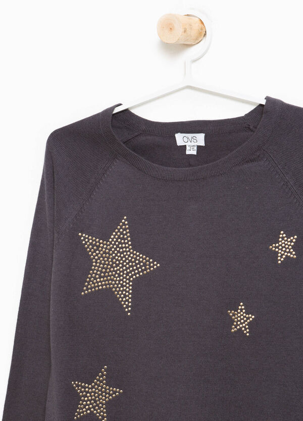 Viscose pullover with diamanté motif and tulle | OVS