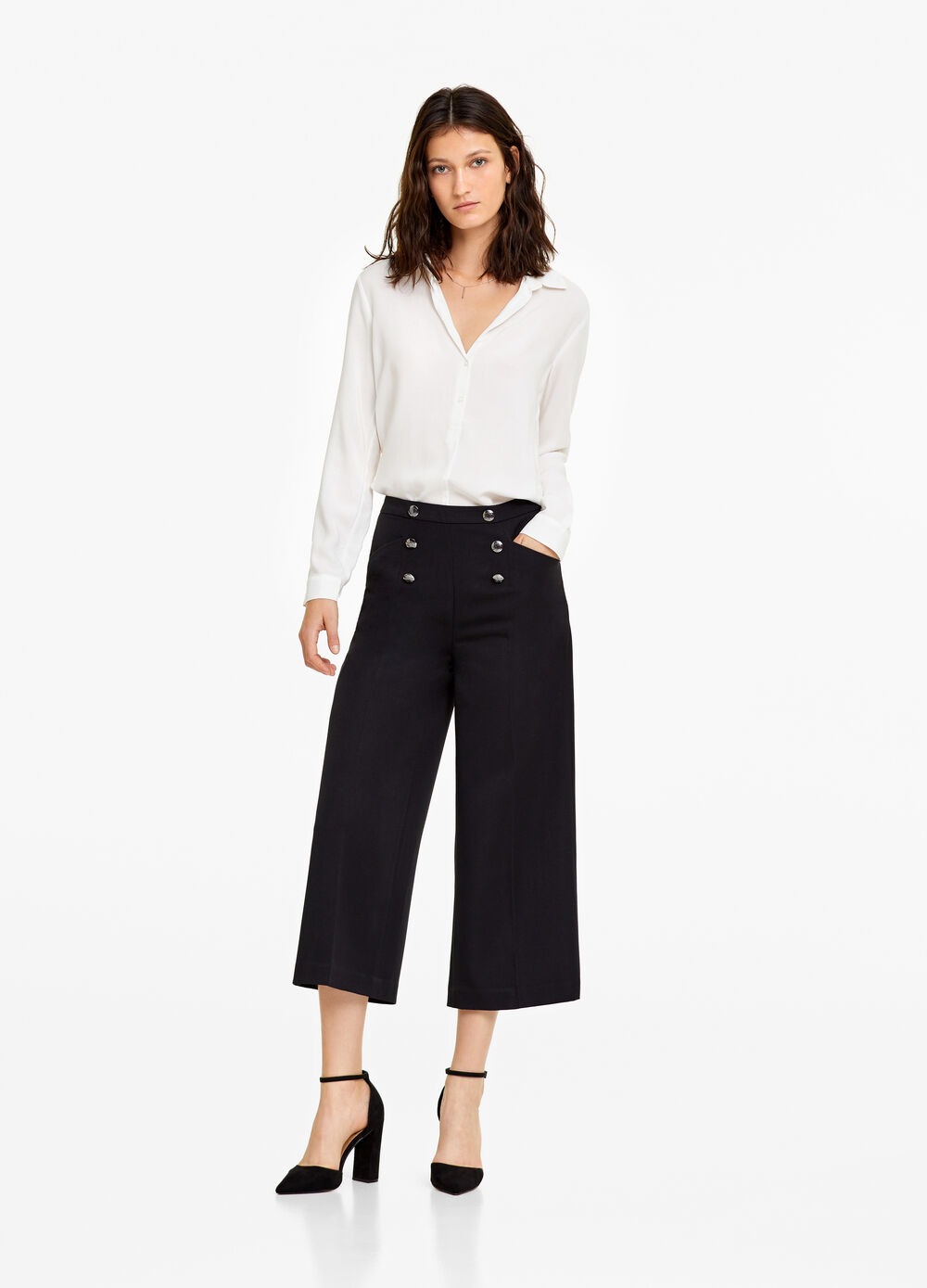 Crop trousers with military buttons