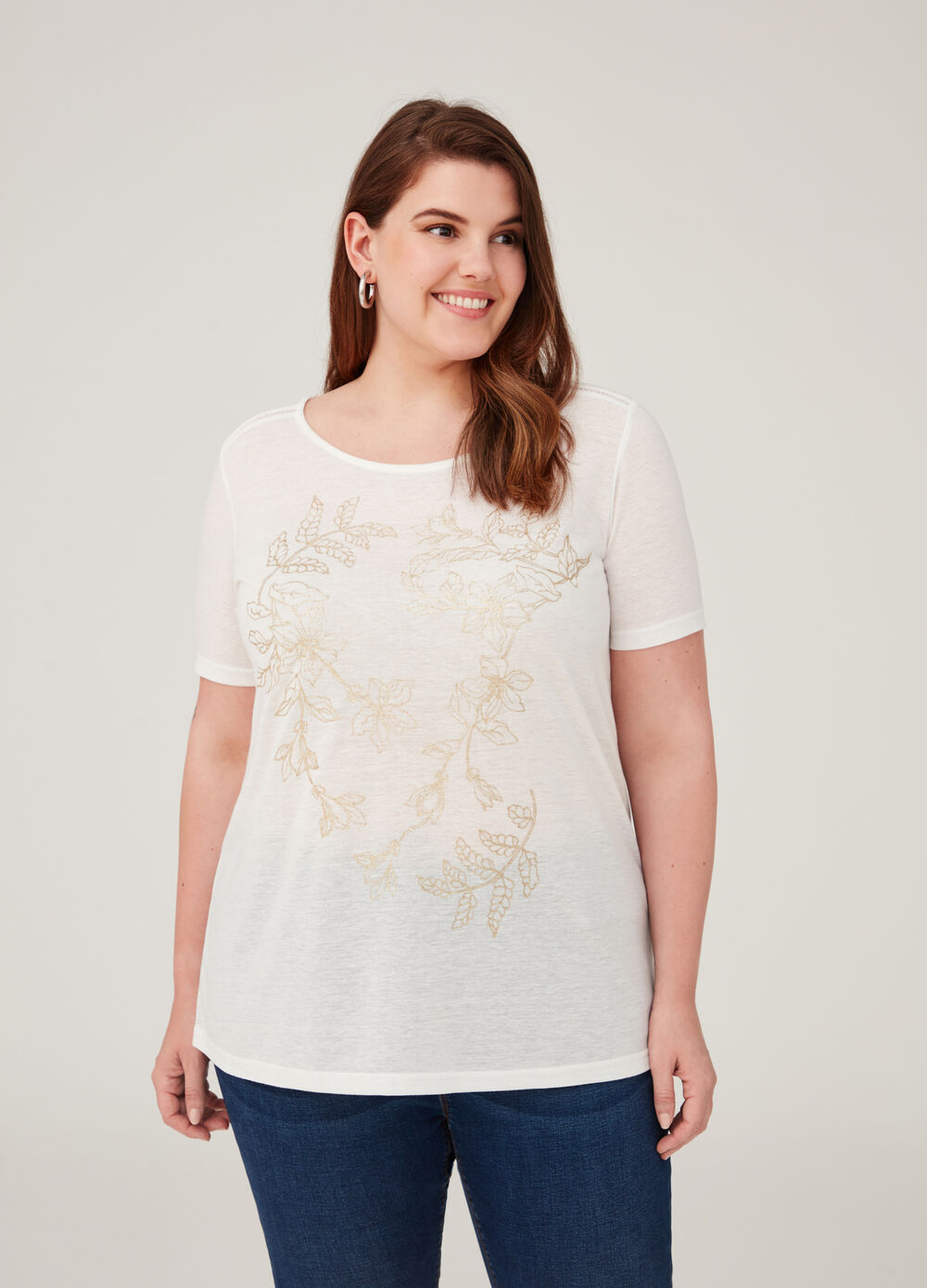 Curvy linen blend T-shirt with floral print