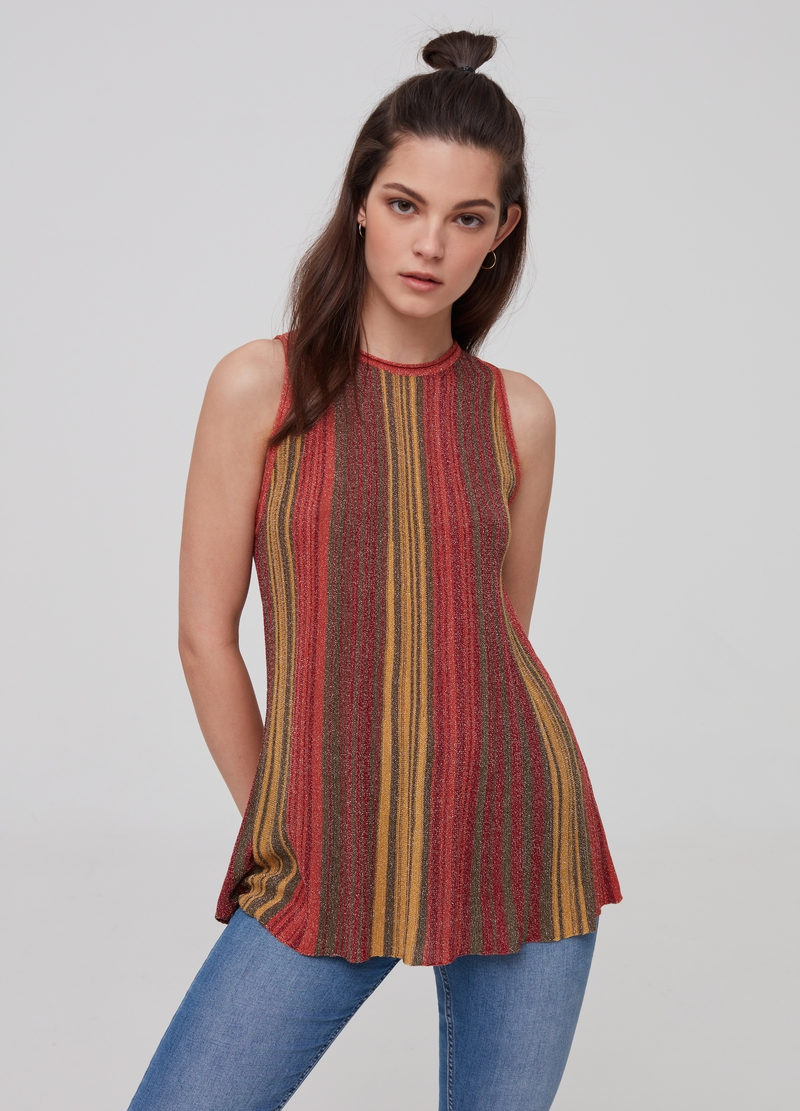 Tank top with striped knitted lurex image number null