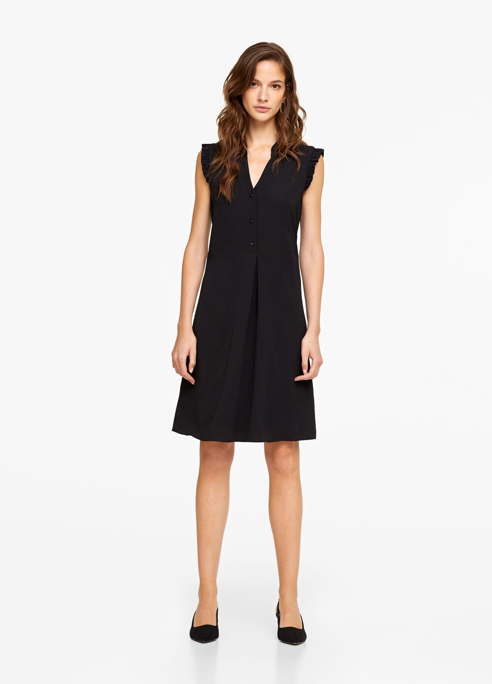 Stretch dress with flounce and pleating