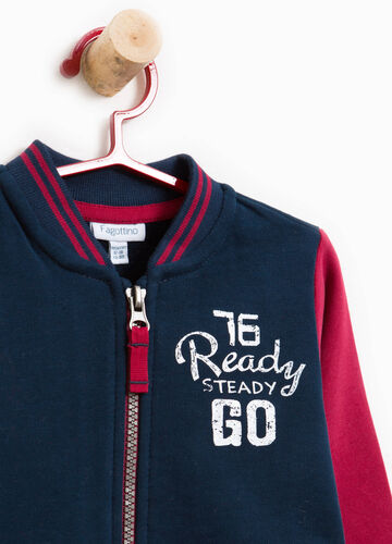 Two-tone sweatshirt with printed lettering