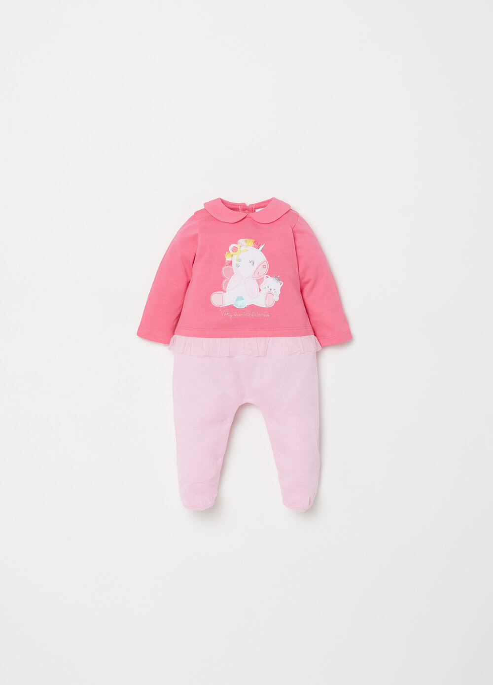 Onesie with feet with animals and tulle