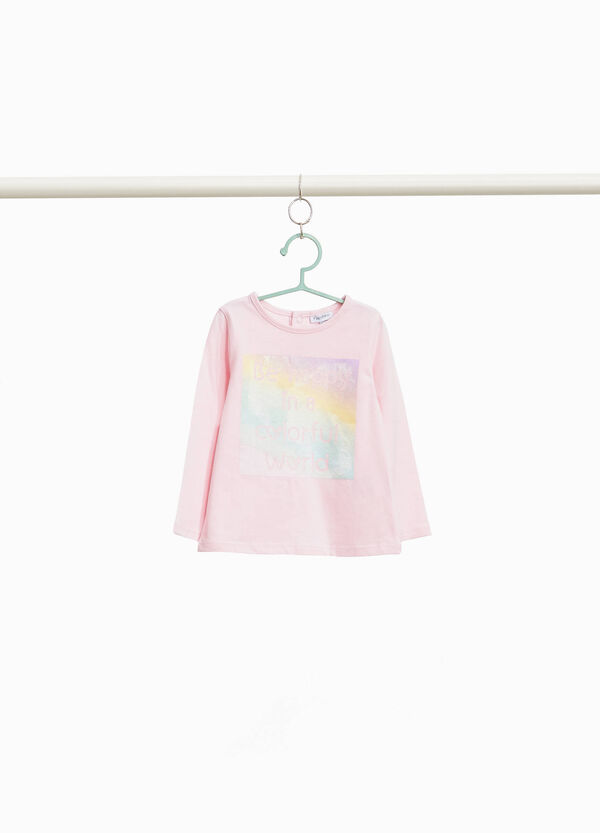 Stretch cotton T-shirt with glitter print