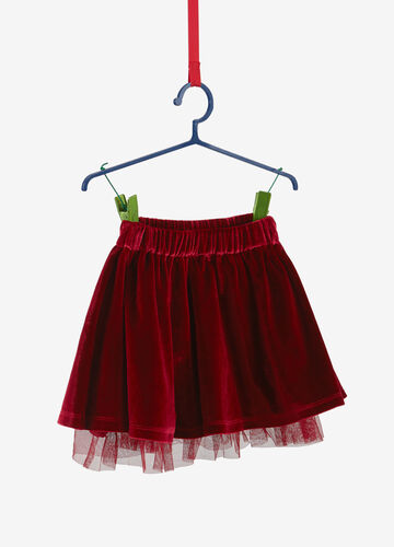 Skirt in chenille with tulle