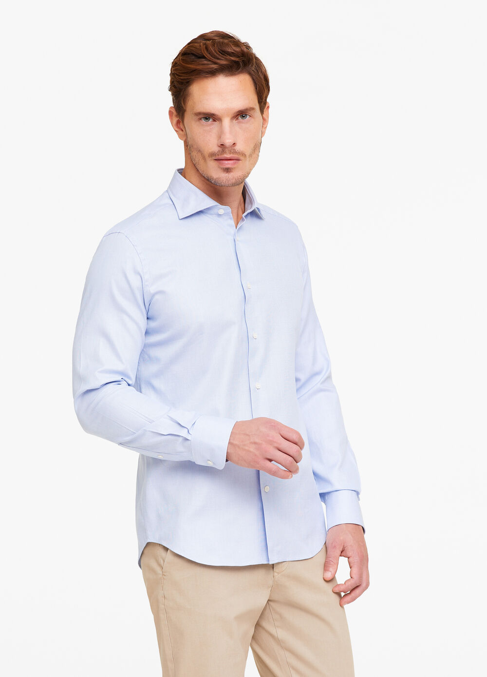 Slim-fit formal shirt with micro weave