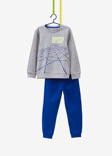 Tracksuit with sweatshirt and trousers in cotton and viscose