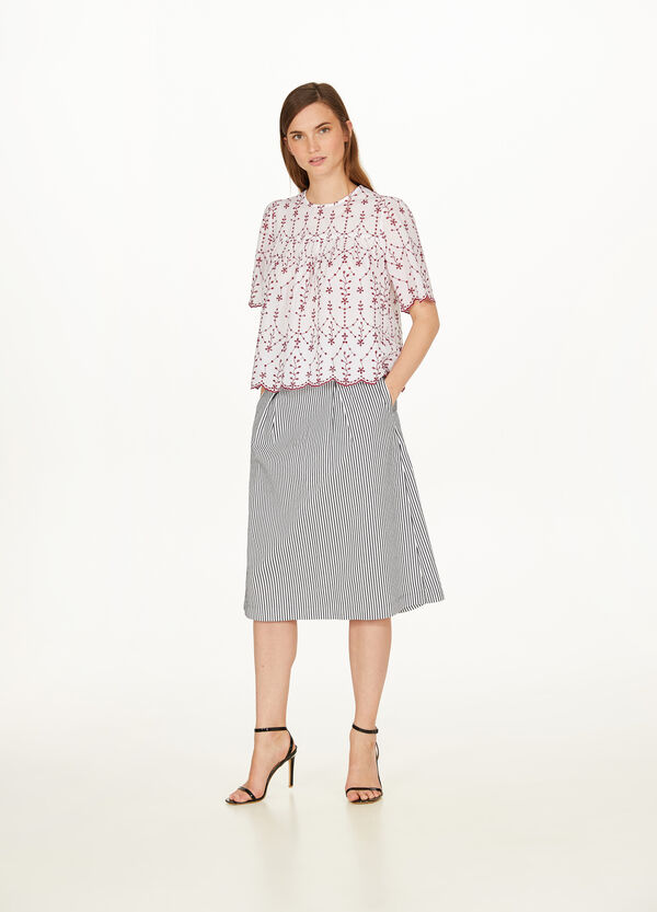 Striped stretch cotton blend skirt