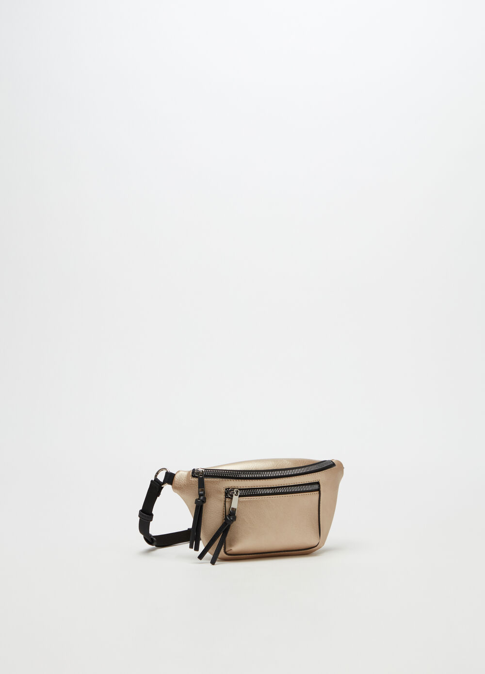Solid colour leather-look belt bag with pockets