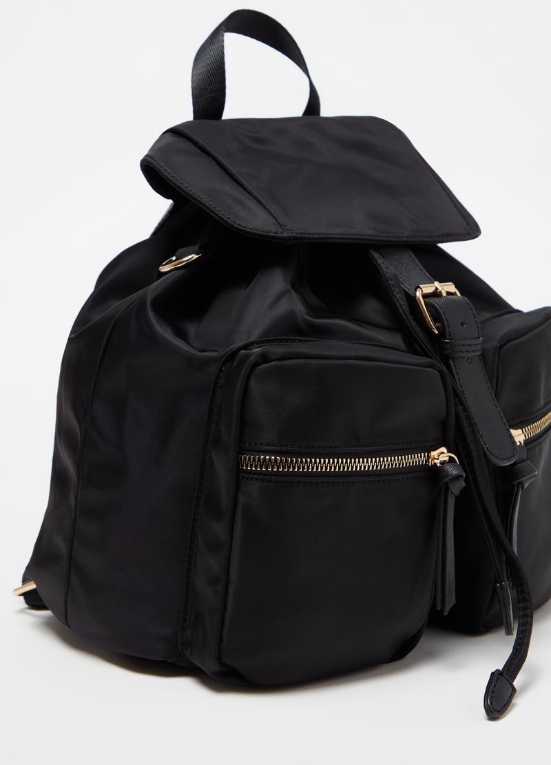 Nylon backpack with golden zips image number null