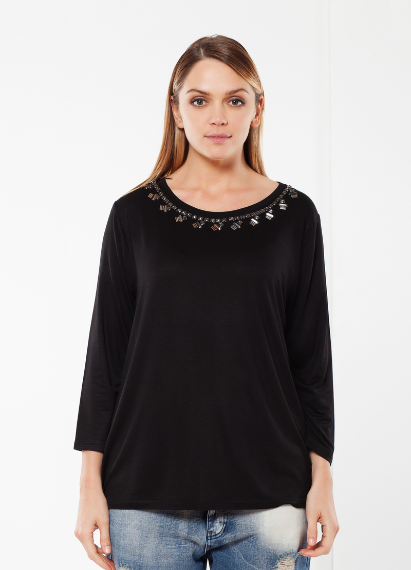 Curvy T-shirt with rhinestones image number null