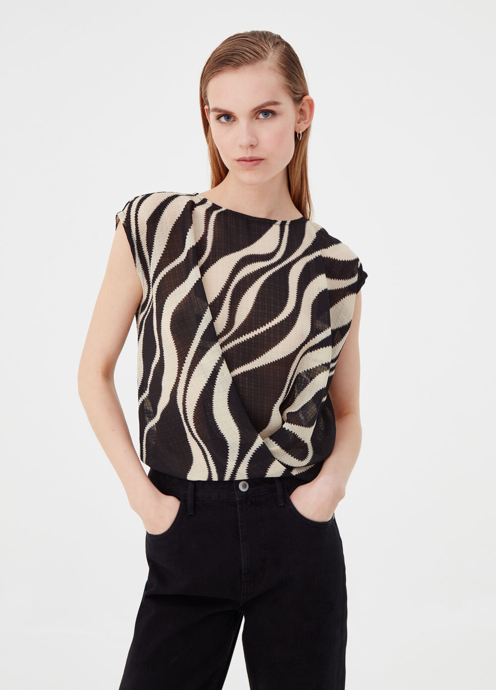 Crossover blouse with animal pattern