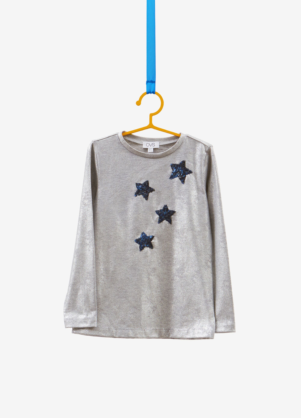 Stretch T-shirt with glitter and sequins