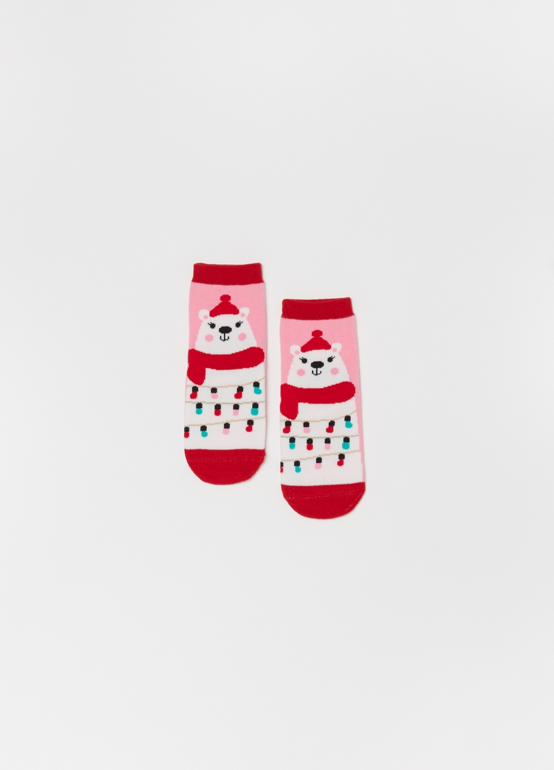 Slipper socks with Christmas bears image number null