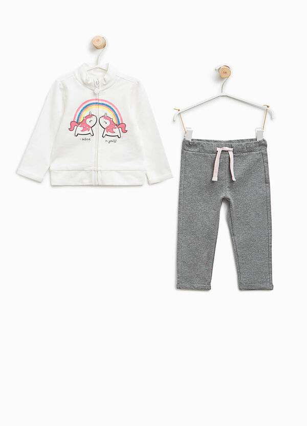Tracksuit in stretch cotton with unicorn print | OVS