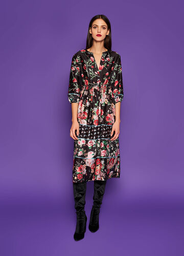 Longuette dress with all-over floral print