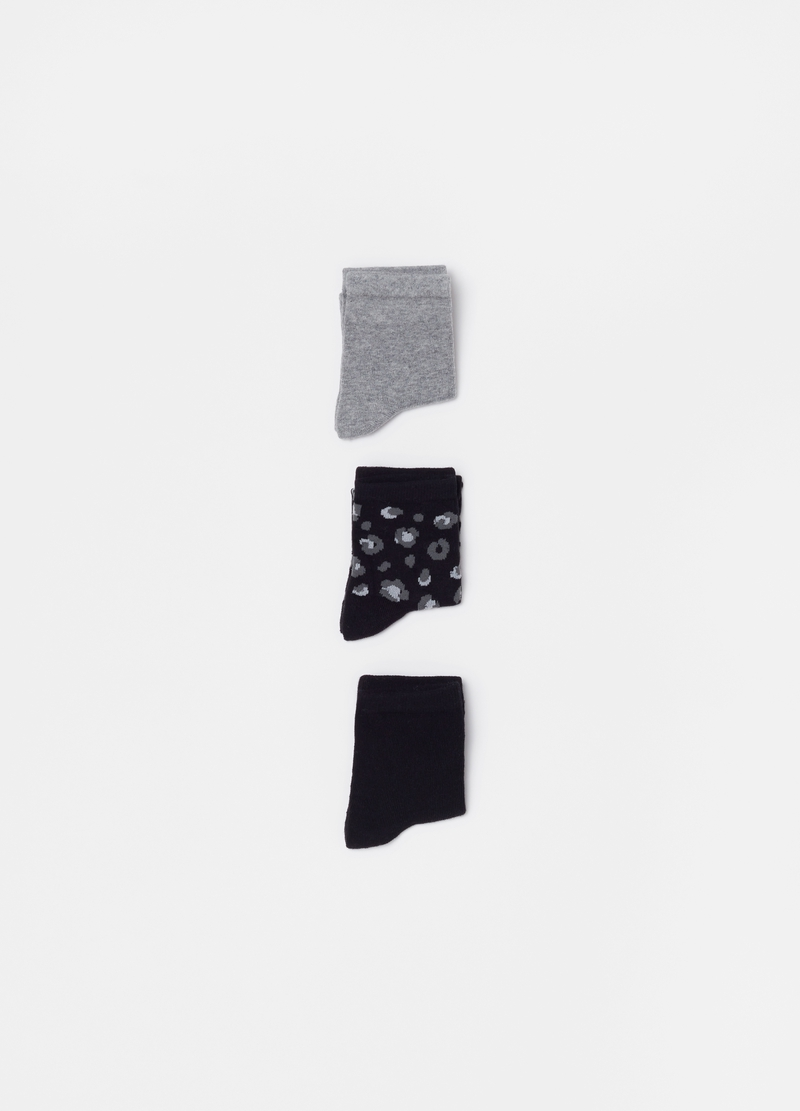 Three-pair pack short stretch socks with pattern image number null