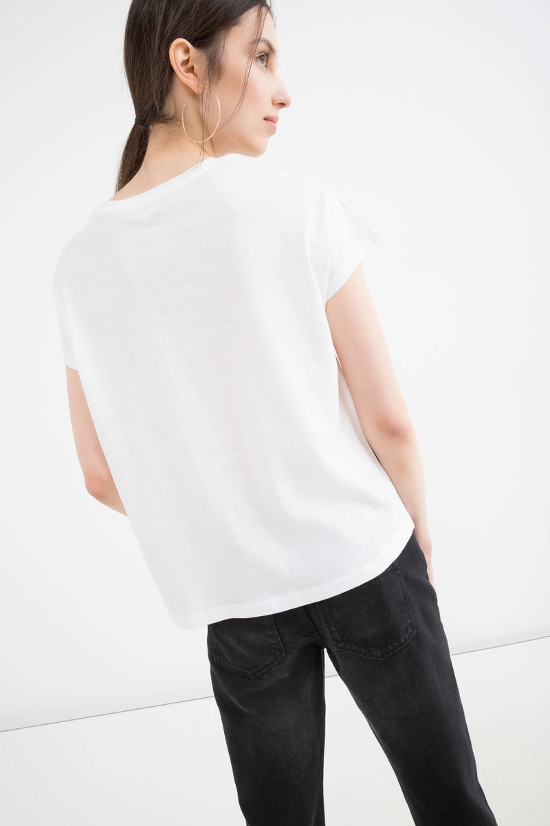 T-shirt puro cotone stampa e ricami image number null