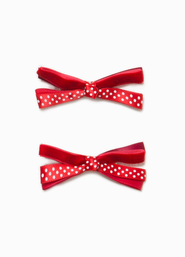 Two-pack hair clips with polka dot bow | OVS