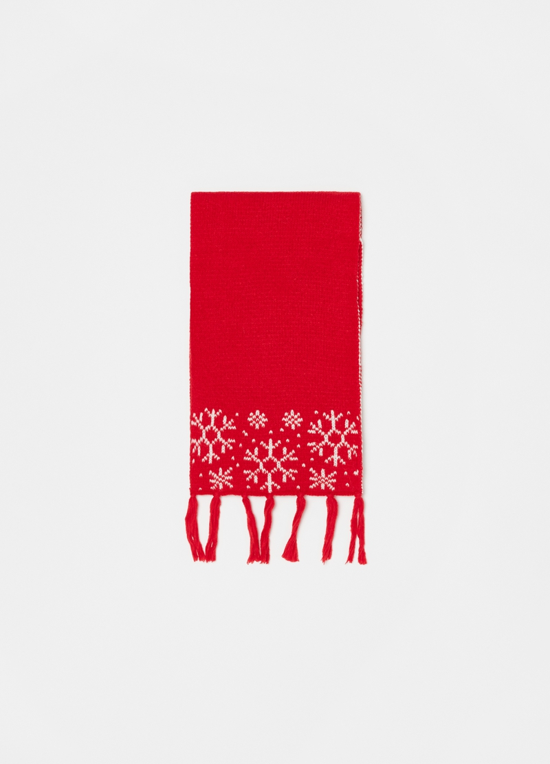 Scarf with jacquard snowflakes image number null