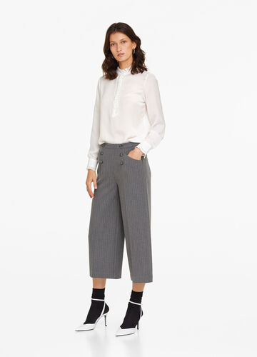 Wide crop trousers with micro stripes