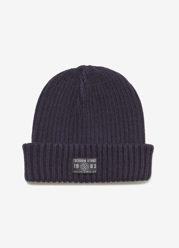 Solid colour beanie cap with striped weave
