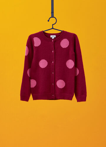 Viscose blend cardigan with all-over polka dots