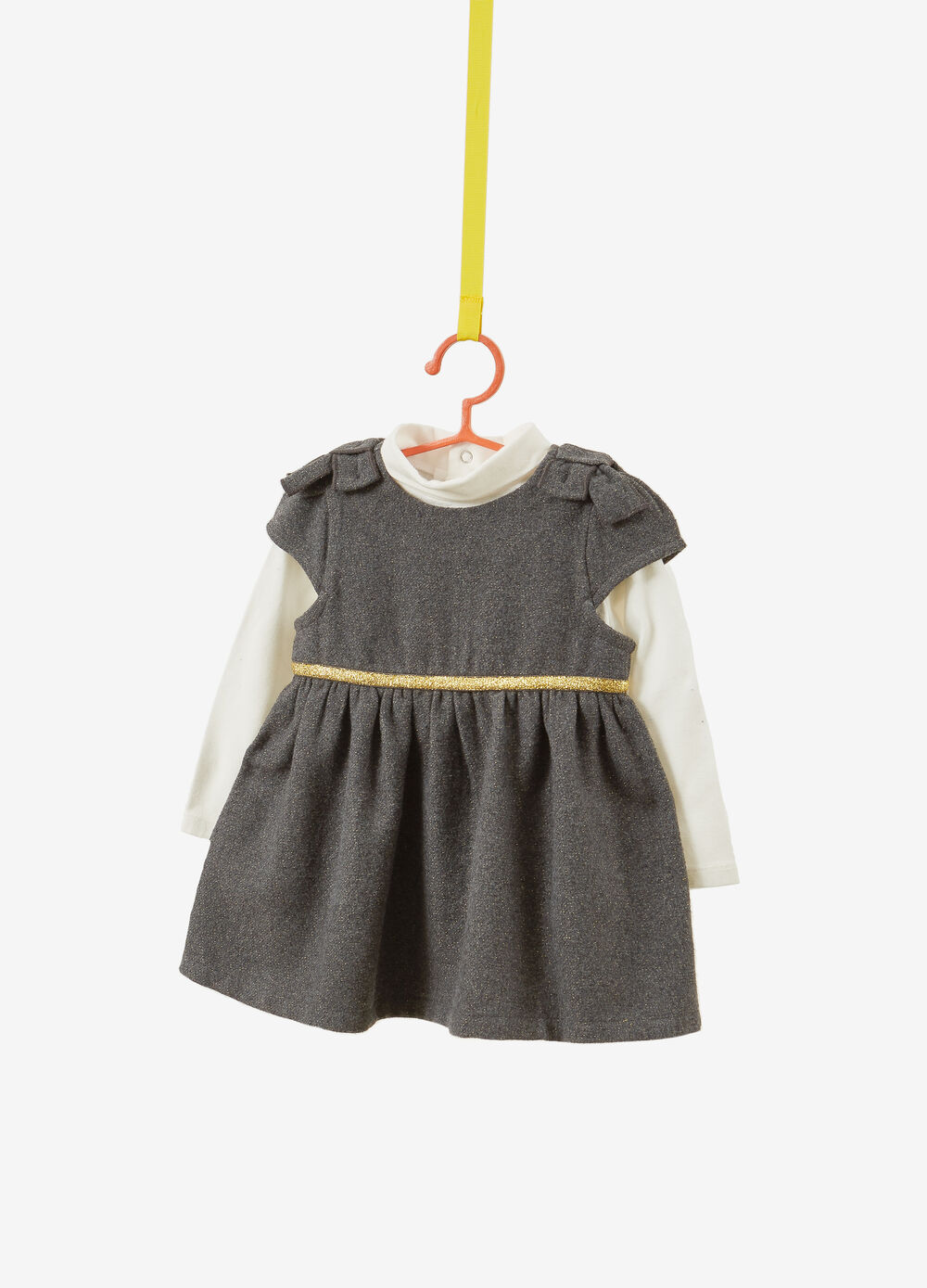 Turtleneck jumper and dress outfit with lurex and bows