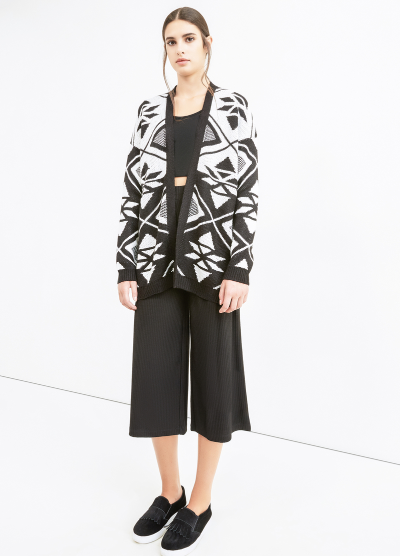 Knitted long cardigan with contrasting colour embroidery image number null