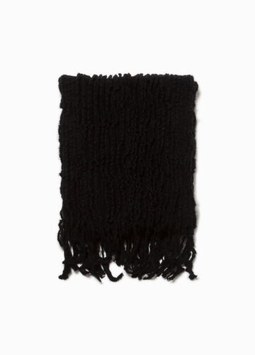 Pashmina with fringing and striped weave