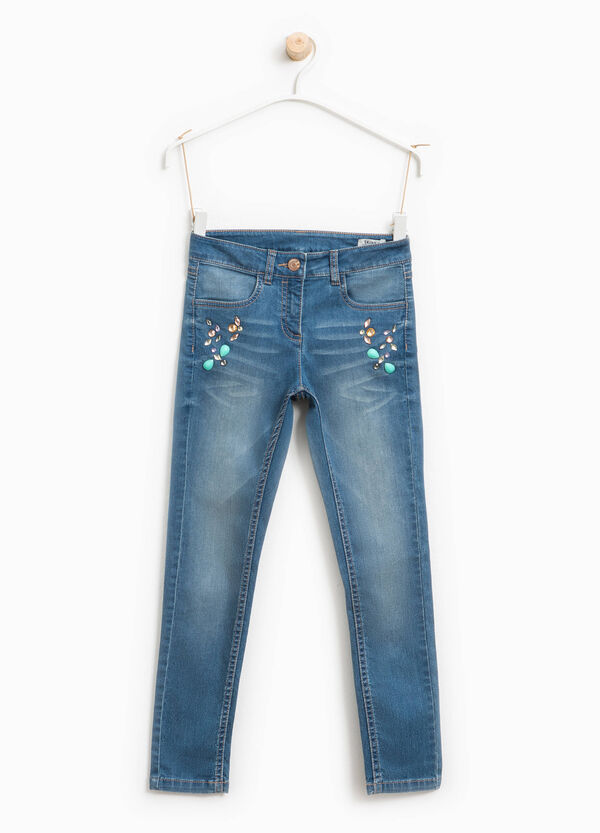 Worn-effect, skinny-fit jeans with diamantés | OVS