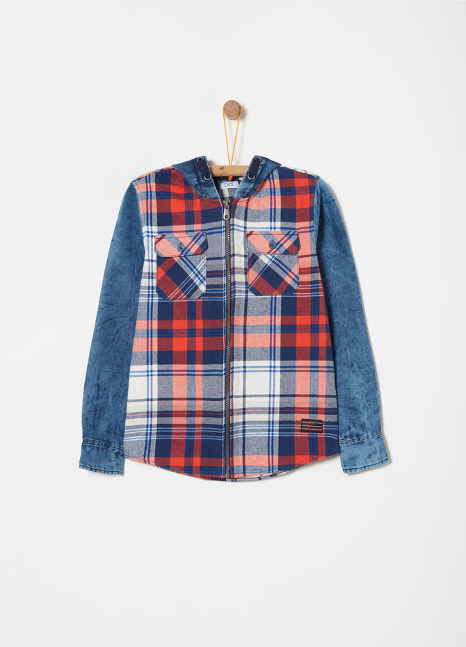 Check shirt with zip in tartan twill