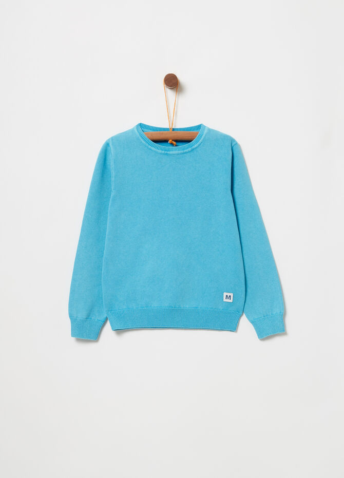 Vintage-effect knitted pullover with ribbing