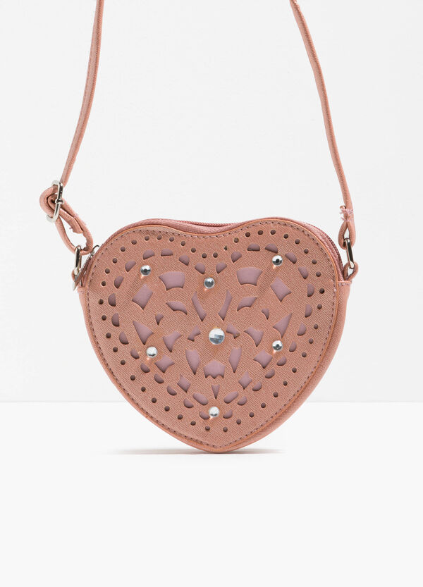 Heart-shaped shoulder bag with diamantés