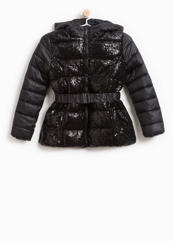 Down jacket with hood and sequins