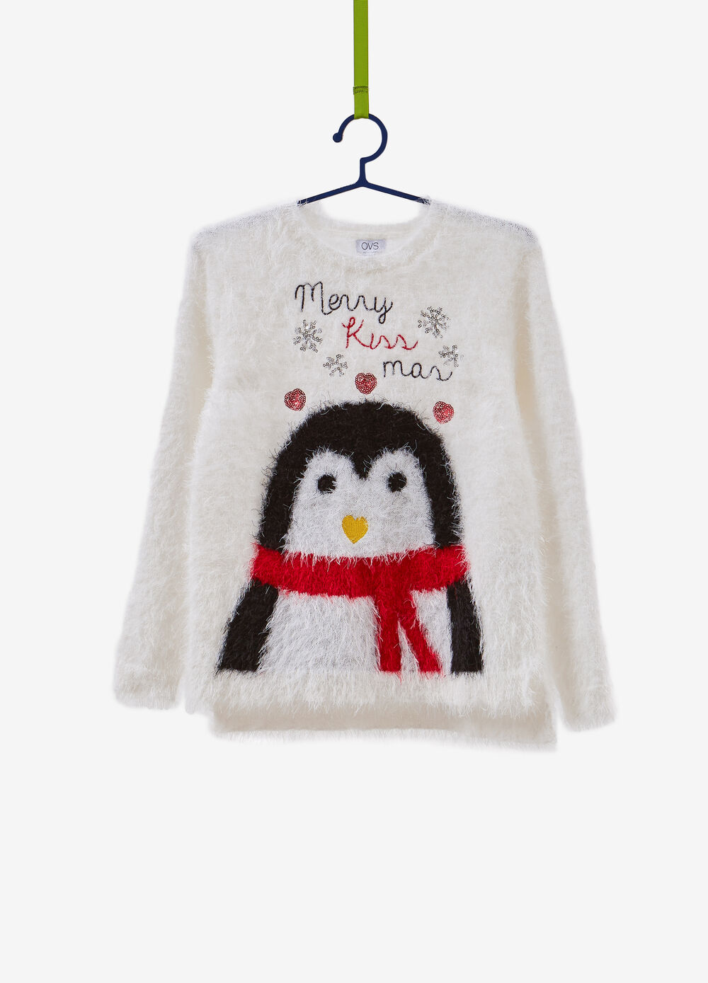 Christmas sweater with penguin embroidery
