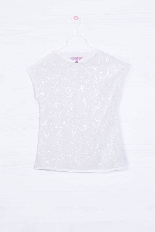 T-shirt viscosa stretch con paillettes