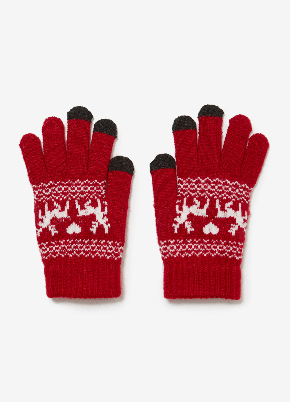 Stretch knit gloves with lurex and reindeer pattern