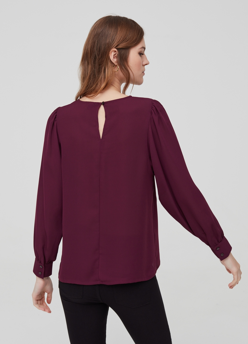 Crew neck blouse with long sleeves image number null