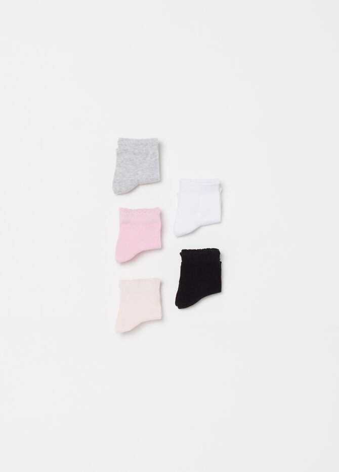 Five-pack solid colour BCI short socks