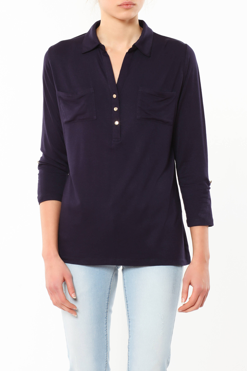Polo shirt with buttons image number null