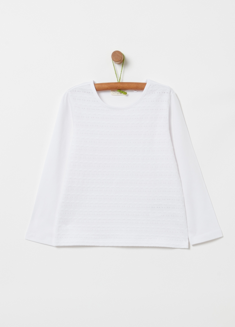T-shirt in cotone stretch con ricamo image number null