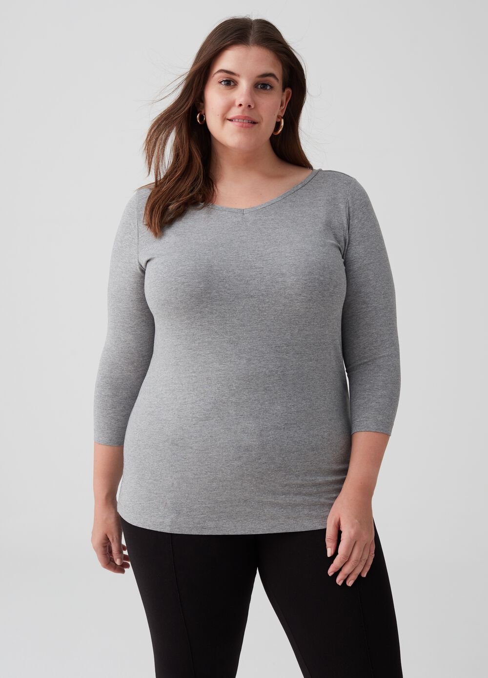 Curvy T-shirt with three-quarter sleeves