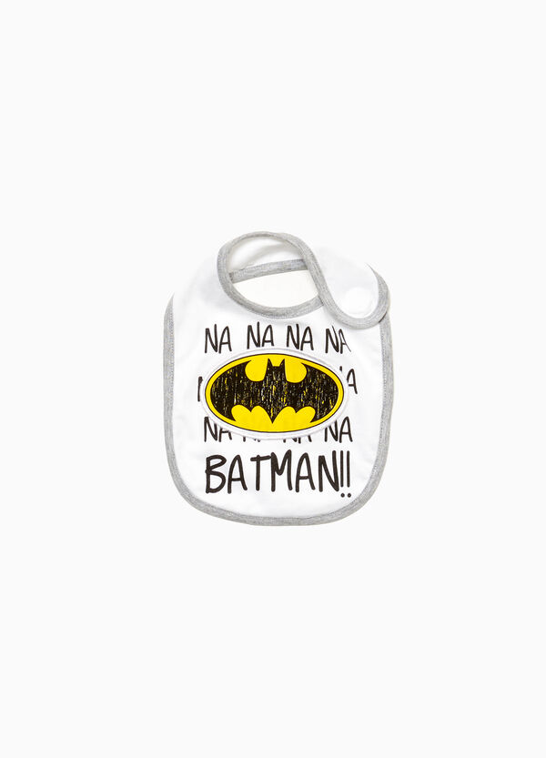 Cotton bib with Batman and lettering patch