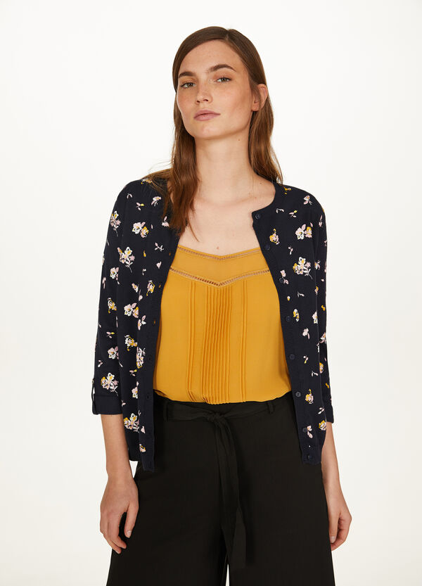 Cardigan with three-quarter sleeves in cotton blend