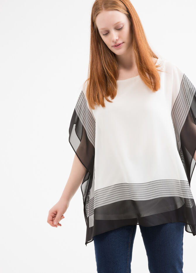 Curvy striped blouse in viscose blend