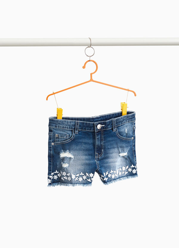 Stretch denim shorts with embroidery